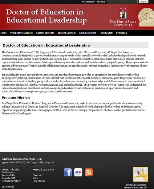 Screenshot of EDDLeaders website. Click to go to the website.