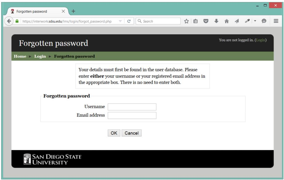 Image of the LMS forgotten password screen